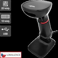 CCD 2D čtečka Virtuos HT-855A, USB, stojánek, černá
