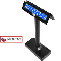 Oboustranný LCD zákaz. displej Virtuos FL-730MB 2x20, serial, černý