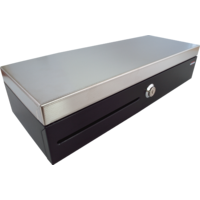 Pokladní zásuvka flip-top FT-460V2 - bez kabelu, se zam. krytem, NEREZ víko, černá