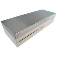 Pokladní zásuvka flip-top FT-460V3 - bez kabelu, se zam. krytem, NEREZ víko, bílá