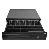 Pokladní zásuvka C425 - bez kabelu, kov. držáky, 9-24V, černá