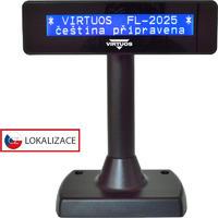 LCD zákaznický displej Virtuos FL-2025MB 2x20, serial, černý
