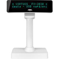 VFD zákaznický displej Virtuos FV-2030W 2x20 9mm, USB, bílý