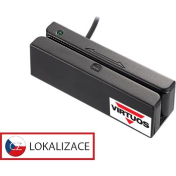 Třístopá čtečka magnetických karet MSR-100A, USB-COM, černá  - 1