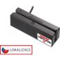 Třístopá čtečka magnetických karet MSR-100A, USB-COM, černá - 1/3