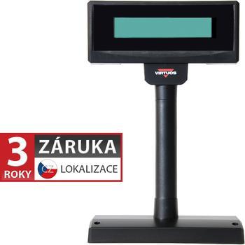LCD zákaznický displej Virtuos FL-2024MW 2x20, serial, 12V, černý  - 1