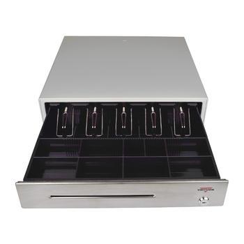 Pokladní zásuvka C430C s kabelem, kov. držáky, nerez panel/béžová  - 1