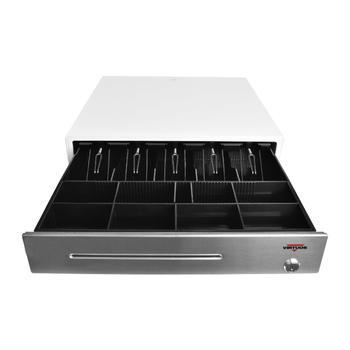 Pokladní zásuvka C430C - s kabelem, kov. držáky, nerez panel/bílá  - 1