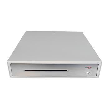 Pokladní zásuvka C430C s kabelem, kov. držáky, nerez panel/béžová  - 2