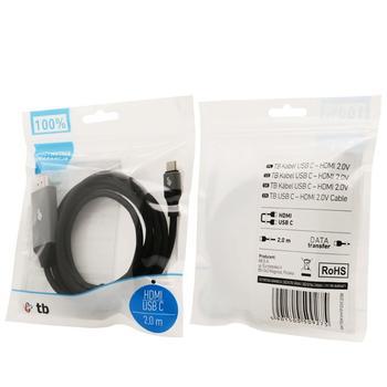 Kabel USB propojovací, USB 3.1 C Male - HDMI 2.0V Male, 2 m  - 2