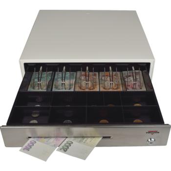 Pokladní zásuvka C430C s kabelem, kov. držáky, nerez panel/béžová  - 4
