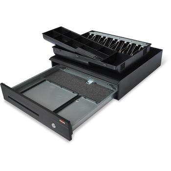 Pokladní zásuvka C425C - s kabelem, kovové držáky, 9-24V, černá  - 5