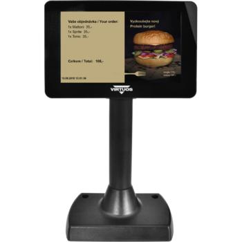 """7"""" LCD barevný zákaznický displej Virtuos SD700F, USB, černý  - 7"""