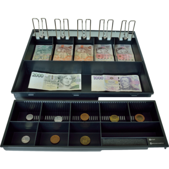 Pokladní zásuvka C425 - bez kabelu, kov. držáky, 9-24V, černá  - 7