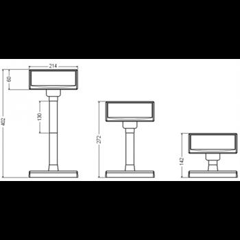 VFD zákaznický displej Virtuos FV-2030W 2x20 9mm, USB, bílý  - 6